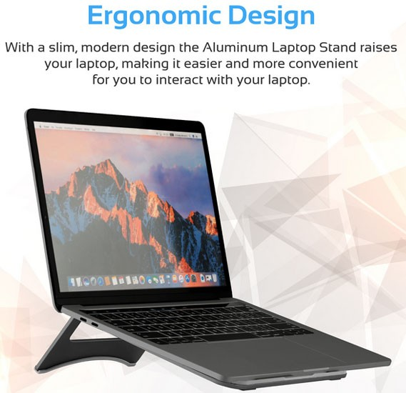 Promate Laptop Stand, Premium Ultra-Slim Portable Adjustable Aluminium Laptop Stand, DESKMATE-3.GREY