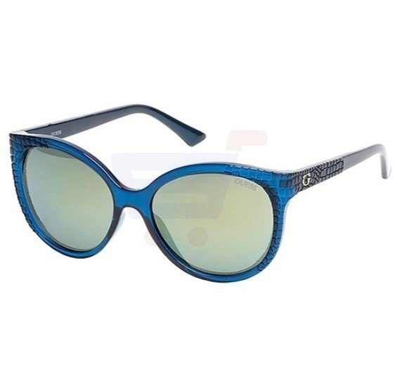Guess Rectangular Dark Teal Frame & Green Mirrored Sunglasses For Woman - GU7402-89Q