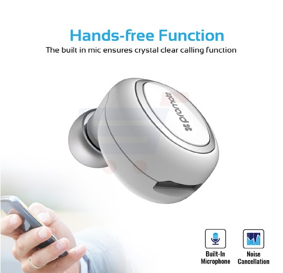 Promate Bluetooth Mono Headset, Universal Wireless Smallest Bluetooth Earbud with HD Sound Quality, Multi-Point Pairing, Noise Reduction and Built-In Mic for Phone X, 8, 8 Plus, Samsung Note 8, OnePlus 5T, Halo-2.White