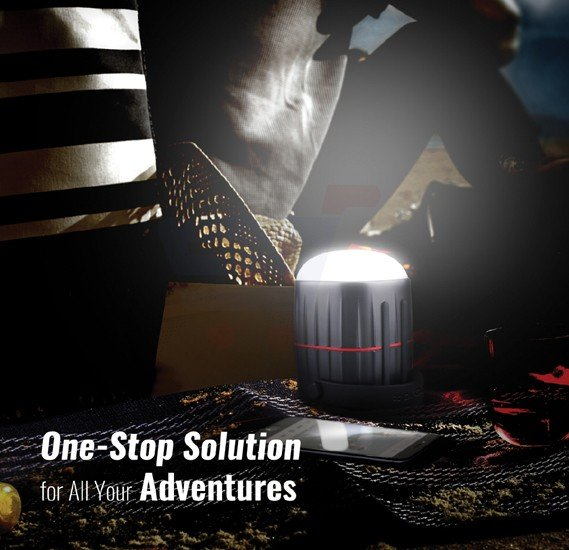 Promate LED Camping Lantern, 3-In-1 Portable Hanging Camping Kit with 3 Modes Bright LED Light, Powerful Bluetooth 3W Speaker, USB Port and High Capacity 8800mAh Power Bank for Hiking, Fishing, Outdoor, Emergency, CampMate-1.BLACK