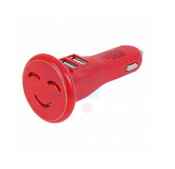 2 USB Port Smile Design Car Charger, Red