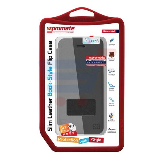 Promate Slant i6 iPhone Case, Slim Leather Book Style Flip Case for iPhone 6/6S, Black