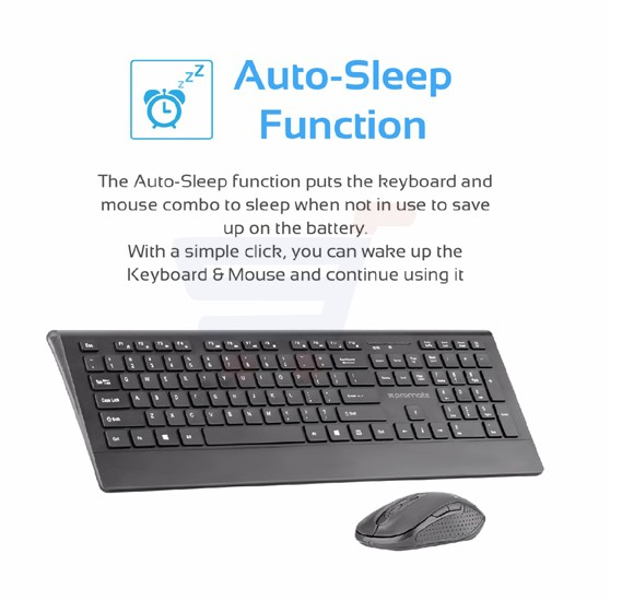 Promate Wireless Keyboard and Mouse, Ergonomic Ultra-Slim 2.4GHz Cordless Combo Keyboard and 5 Button DPI Mouse with Wrist Rest Panel and Auto-Sleep Function for Desktop, PC, Windows, iOS, PROCOMBO-4.BLK/AE