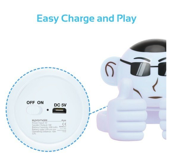 Promate Bluetooth Speaker, Portable Monkey Shape Multifunction Wireless Speaker with 3.5mm Audio Jack and Thumbs-up Adjustable Flexible Smartphone Holder for Tablets, Cell Phones, Ape White