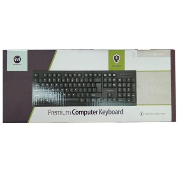 Micro Digit Light Weight Silent Keys Keyboard 104 Keys USB Wired Standard Ergonomic Desktop Waterproof Keyboard Black Arabic/English