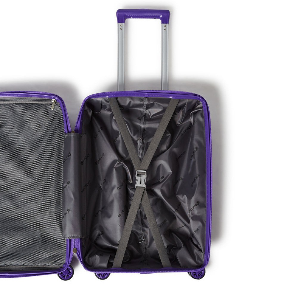 Partner 3 Piece Hardside Luggage Trolley Bag Set, Purple