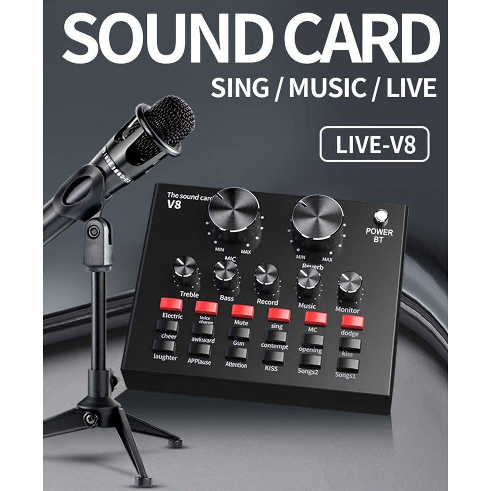 V8 Multifunctional Intelligent Volume Adjustable Audio Mixer Sound Card for Computer PC Live Sound with Microphone and Aluminum Box