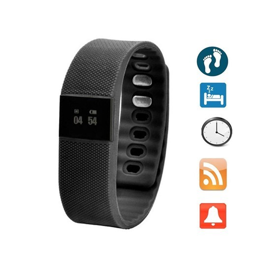 Smart Watch Fitness Activity Tracker Smartband Wristband Tw64 Waterproof Bluetooth Bracelet for Ios/android-black