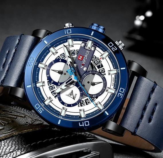 Naviforce NF9137 Man Watch Quartz Watch Leather 3ATM Waterproof Date Week Hour Watch, 9131, Blue