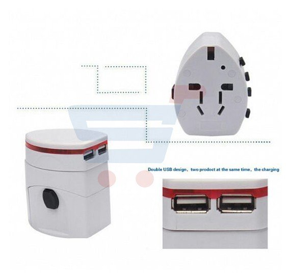 Universal Multi-Color World Travel Adapter With 2 USB Port