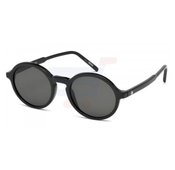 Mont Blanc Round Black Frame & Black with Bluish tint Mirrored Sunglasses For Men - MB601S-01A (ML5SDXA9ALM)