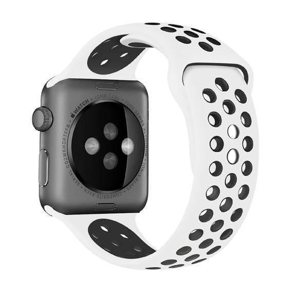 Promate Oreo-38ML Silicone Apple Watch 38mm/40mm Strap, White/Black