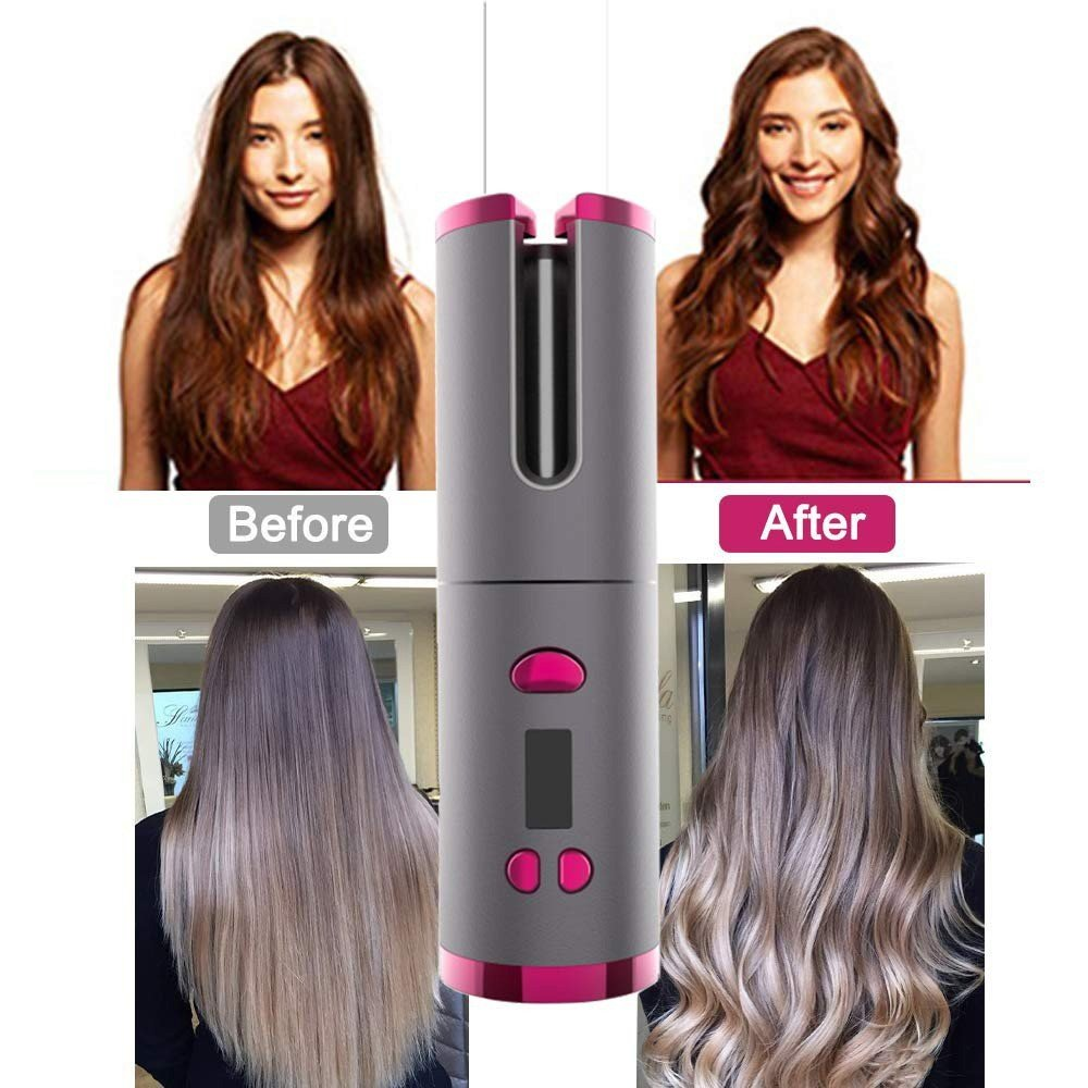 Professional Portable Hair Spiral Curl Automatic Cordless Curling Iron Hair Curler LCD Monitoring Machine, Rechargeable Auto Curler for Curls or Waves Anytime, Anywhere