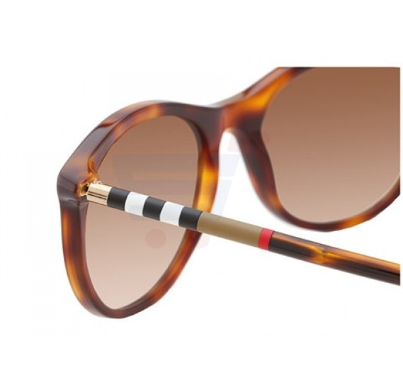 Burberry Oval Havana Frame & Brown Shaded Mirrored Sunglasses For Women - 0BE-4145-331613