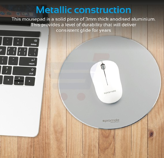 Promate Mouse Pad, High-Quality Ergonomic Aluminium Mouse Pad with Non-Slip Rubber Base and Anti-Stain High Accuracy Optimized Tracking for iMac, MacBook Pro, Laptops, PC, Any Optical Laser Mice, MetaPad-1.Silver