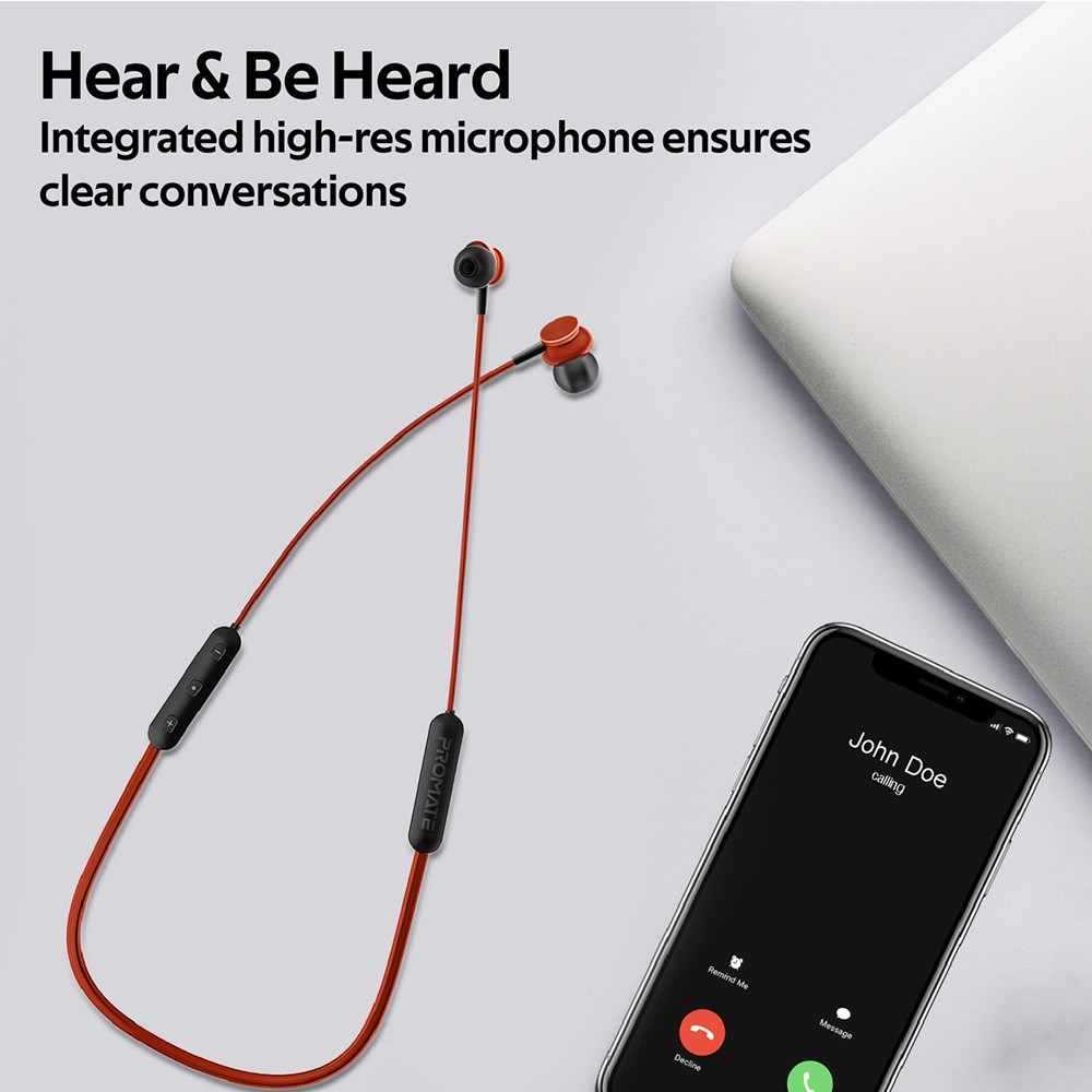 Promate Wireless Earphones, Dynamic Neckband Bluetooth v5.0 Magnetic Closure Secure Fit Headphones, Bali, Maroon