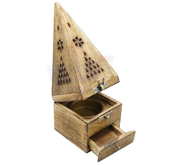 Piramid Wooden Manual Burner For Bakhoor - OS-PWMB-1318