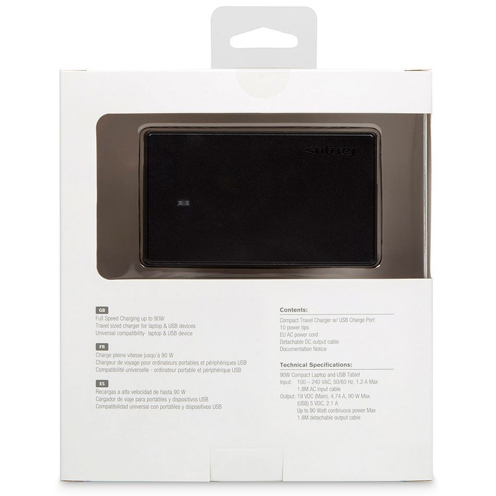Targus AC Compact Laptop Charger & USB Tablet Charger, Black