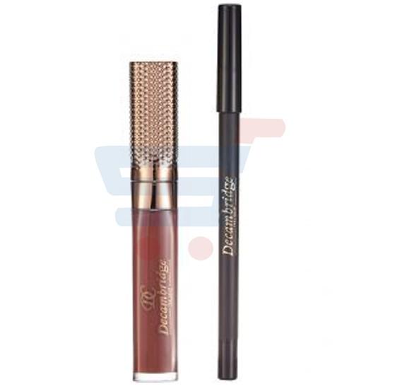 Decambridge Dark Brown Matte Liquid Lipstick and Lip Liner, LP20