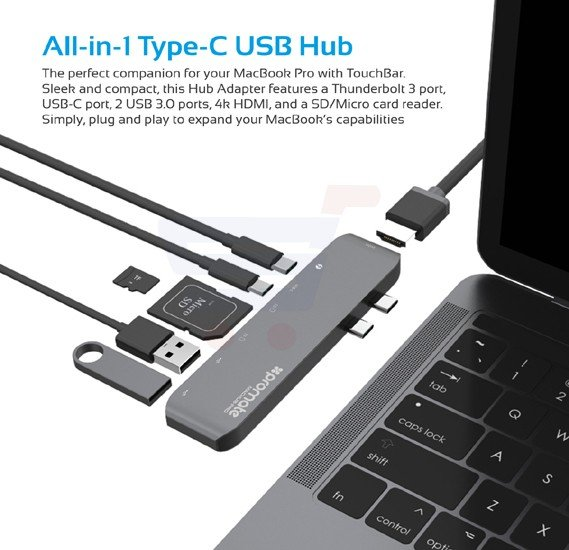 Promate Thunderbolt 3 USB-C Hub, High-Speed Aluminum Type-C Adapter Pass-Through Charging Hub with 40Gbs Thunderbolt 3, 4k HDMI Port, SD/Micro SD Card Reader and 2 USB 3.0 Ports for MacBook Pro 13 Inch and 15 Inch, MacHub-Pro.Grey