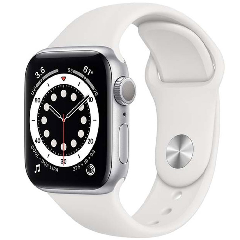 Apple Watch Series 6-44 mm GPS Silver Aluminium Case with White Sport Band