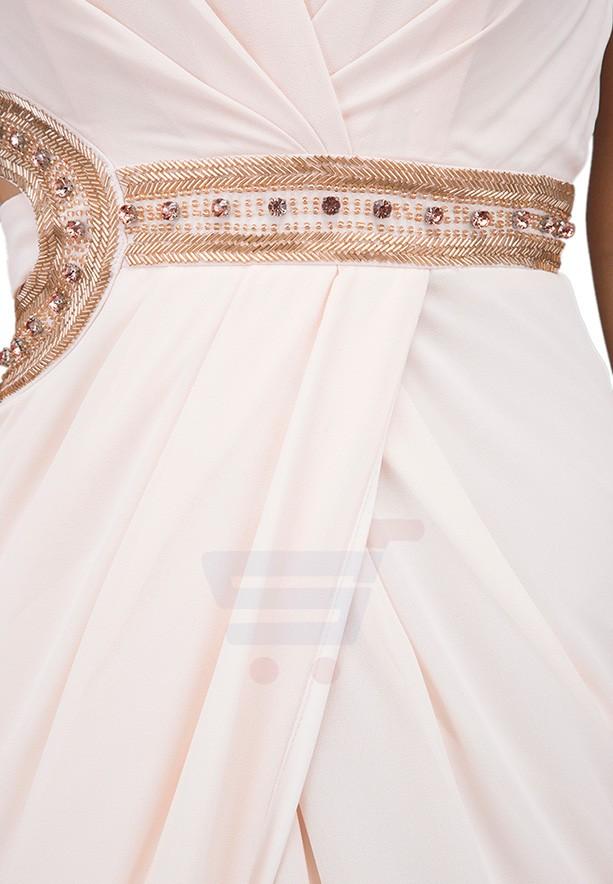 TFNC London Ivana Embellshed Maxi Party Dress Peach - CTT 34070 - L