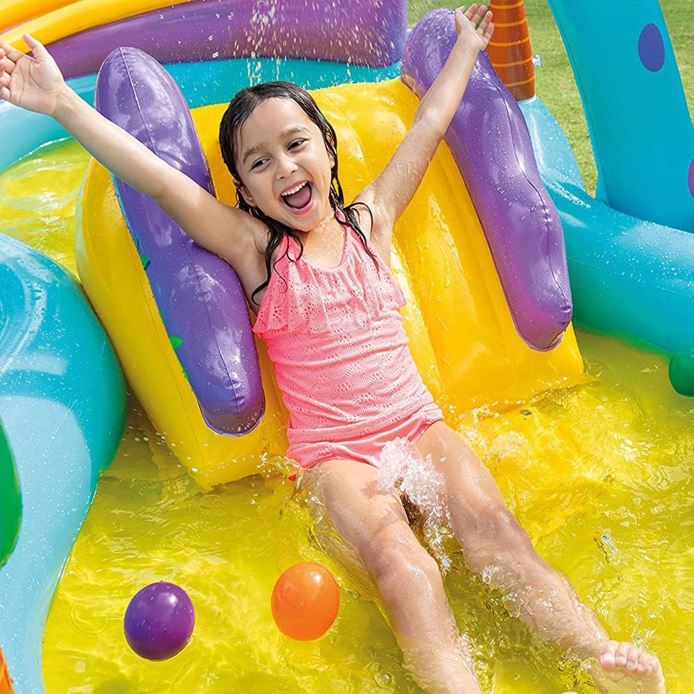 INTEX Dino Slide & Pool, Multi-Colour, 57135
