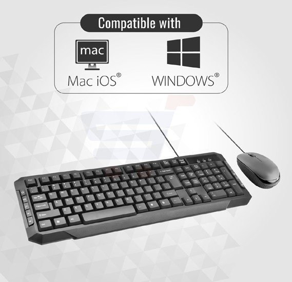Promate Wired Keyboard and Mouse Combo, Ultra-Sleek USB Wired Full-Sized Keyboard and Mouse Combo with Comfortable Quit 104 Keys and Multimedia Keys Character for iOS, Windows, PC, EASYKEY-3.BLK/E