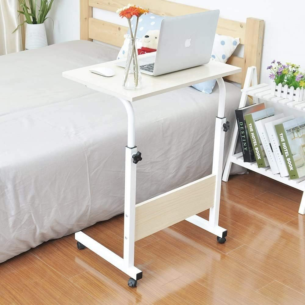 60 X 40cm Laptop Table Desk Stand Mobile Computer Workstation Height Adjustable with Rolling Wheel For Bedroom Living Room Office