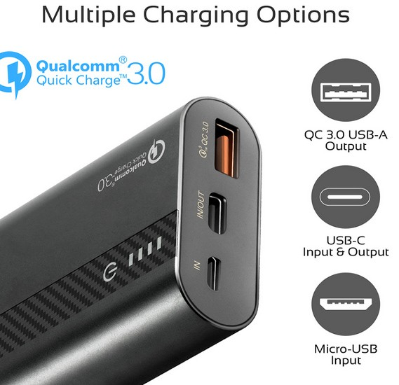 Promate 10000mAh USB-C Power Bank, Compact Palm Size 18W USB Type-C Input /Output Power Delivery External Battery Charger with QC 3.0 Port for iPhone XS /XS Max, Samsung S9/S9+, PowerTank-10 Black