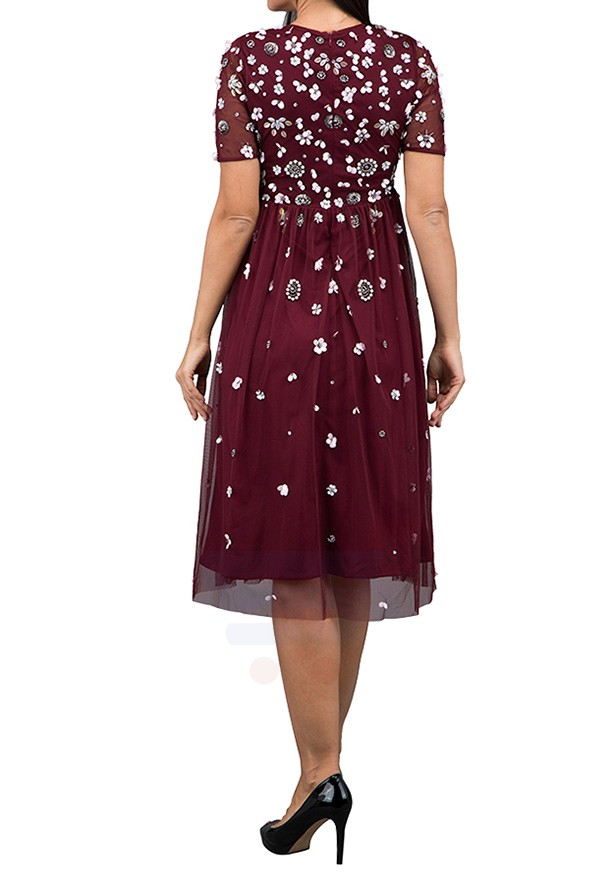 TFNC London Baby Sheer Formal Dress Wine - LNB 18370 - L