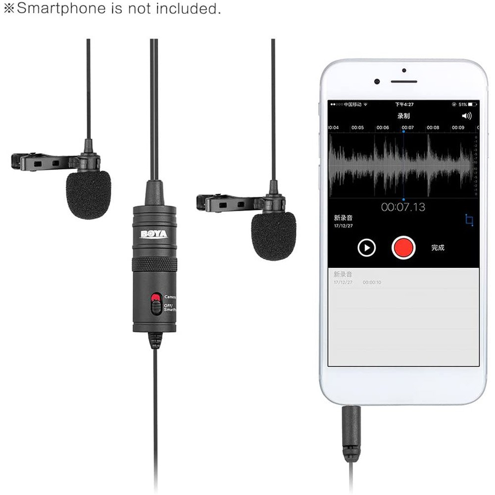 Boya BY-M1DM Dual Tank Microphone with Single 1/8 Stereo Connector for Smartphones DSLR Camera