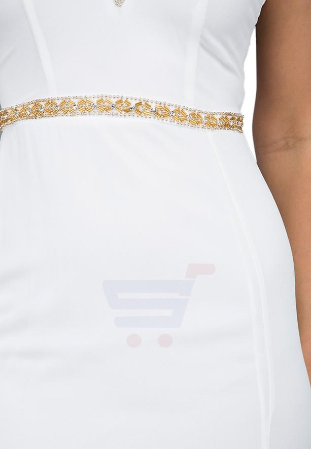 TFNC London V Neck Maxi Evening Dress White - EG 8049 - L