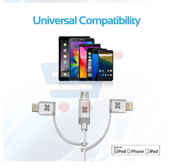 Promate USB C Type C, Micro USB, Apple MFi Lightning Cable 3 in 1 Triple Head Data and Charge Cable for Apple, Android and Type C Devices, UNILINK-TRIO.SILVER