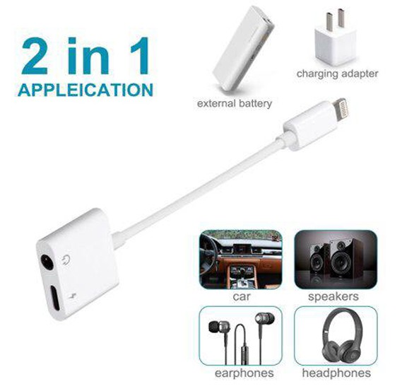 Lightning Adapter With 2 in 1 Charger and Lightning to 3.5 mm Headphone jack Adapter Splitter for all Apple Devices