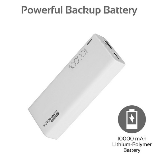 Promate USB C Power Bank, Ultra-Slim 10000mAh Input/Output Type-C External Battery Pack with 2.1A USB Charging Port and Over-Heating Protection for iPhone, Samsung, Pixel, Type-c iPad Pro, Energi-10C White