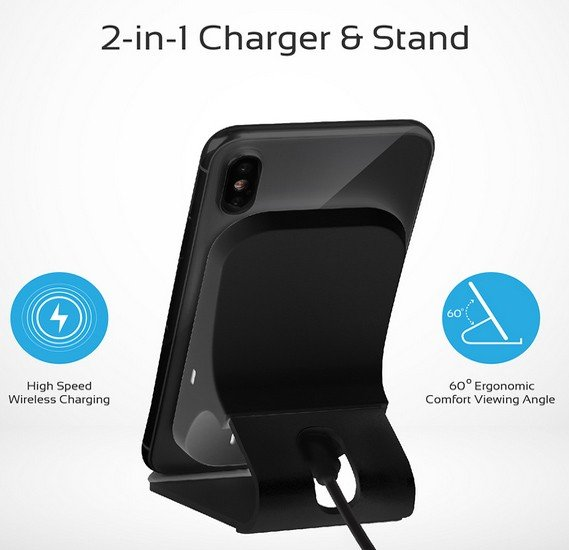 Promate Qi Wireless Charging, Ultra-Fast 15W Wireless Charging Pad Stand with Dual Charging Coil, QC 3.0 Wall Charger, USB-C™ Sync Charge Cable and Multiple Charging Area for iPhone XS Max/XR/XS/X/8+, Galaxy S9+/S8+/Note8, AuraDock-6 Black-UK