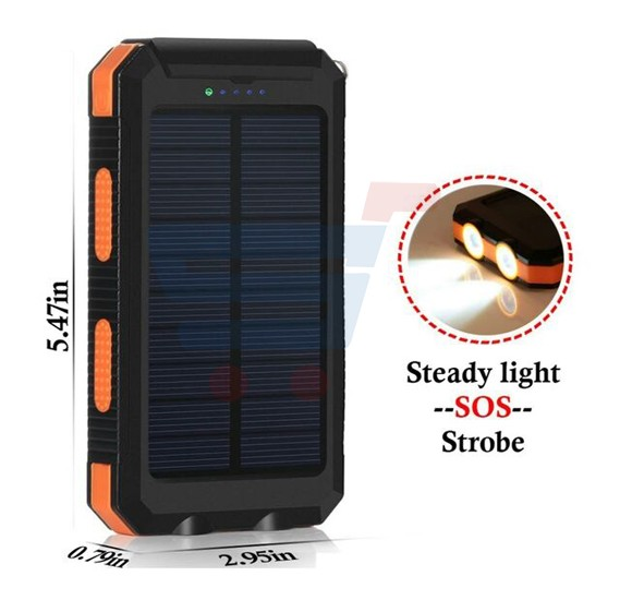 Solar compass outdoor 8800mAh Portable Dual USB External Power Bank charger for Smartphones & Tablets