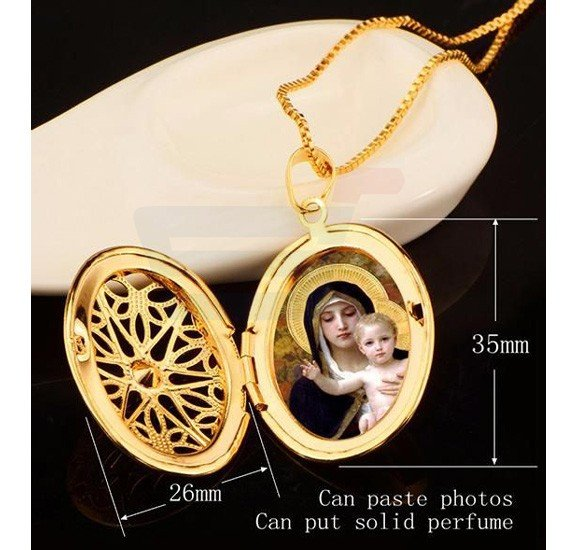 Vintage Hollow Photo Locket Gold Plated Necklace Set For Unisex