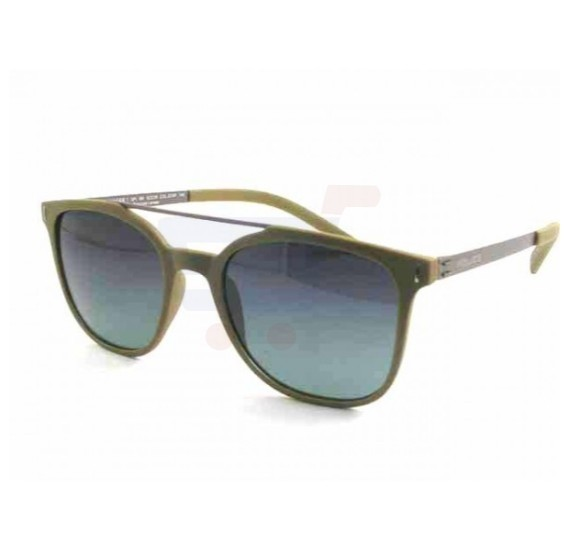 Police Wayfarer Semi-Matte Khaki &Semi-Matte Gunmetal Frame & Smoky Green Gradation (Polarizing Lens)Mirrored Sunglasses For Men - SPL169-G74P