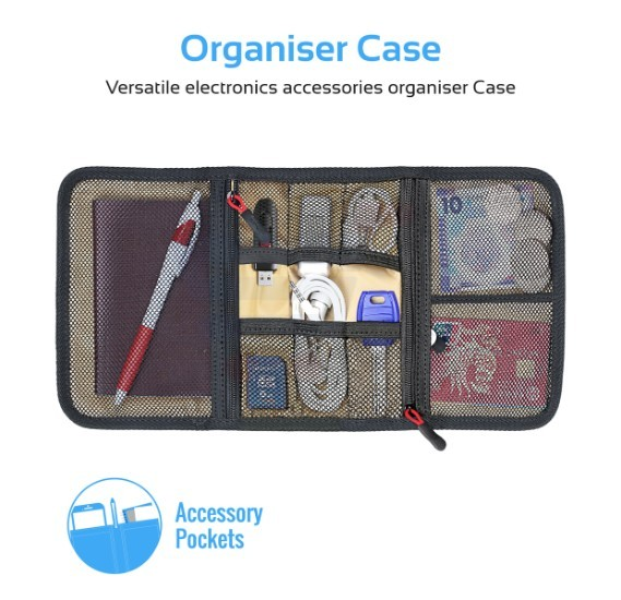 Promate Travel Gear Organizer, Universal Gadget Accessories Travel Carry Case Storage Small Pouch, Travelpack-S Blue