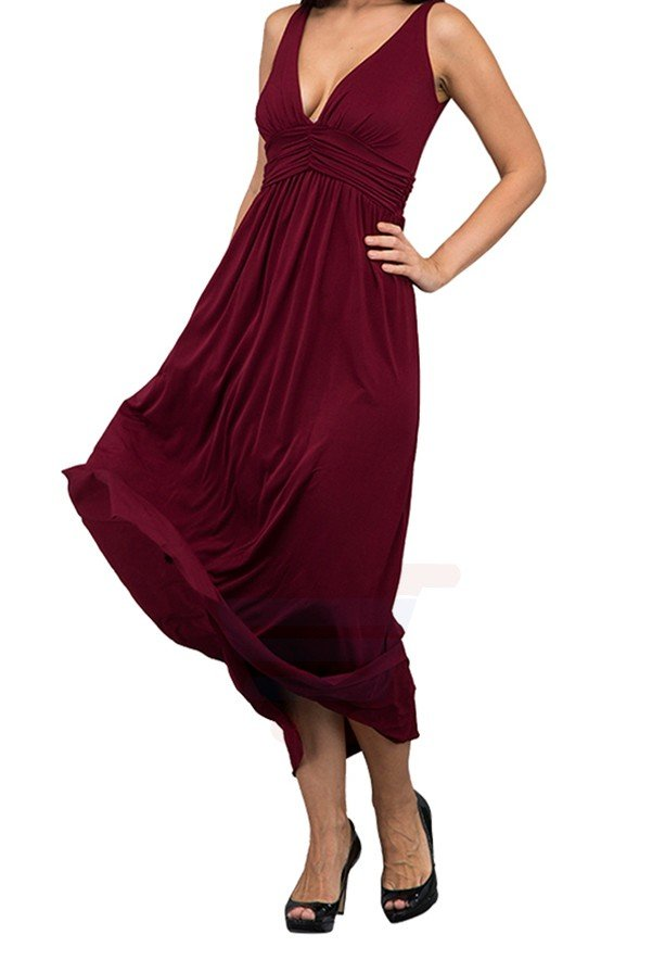 WAL G Italy V Neck Maxi Maxi Dress Wine - PL 16192 - XL