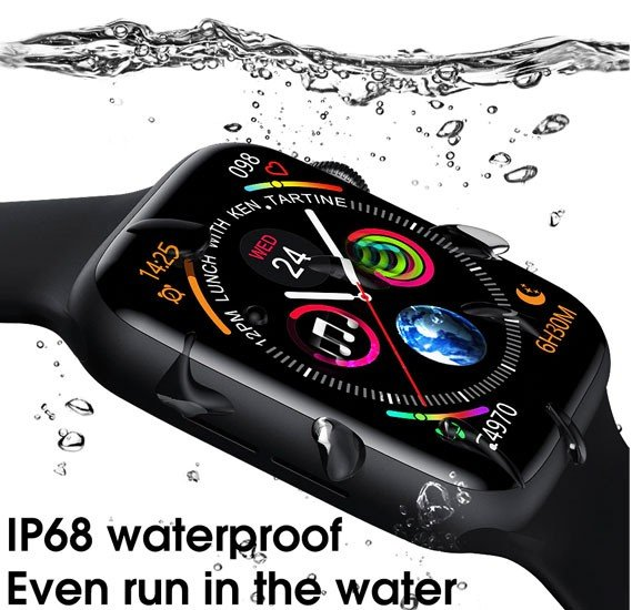 W16 Smart Watch Series 6, Full Touch Screen with 1.75 inch ECG PPG Heart Rate Monitor Bluetooth Smartwatch - Black