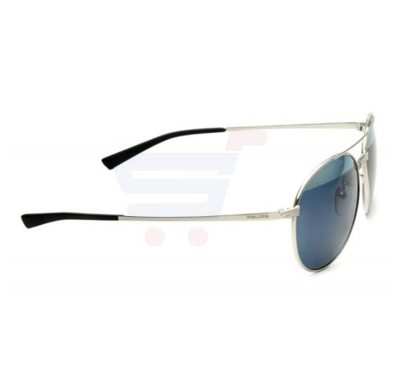 Police Round Shiny Palladium Frame & Silver Mirror / Smoke Mirrored Sunglasses For Men - S8953V579H