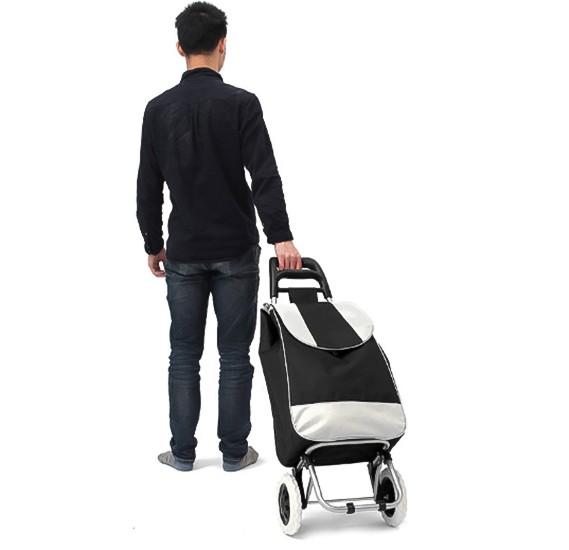 Sunny Portable Large Capacity Shopping Trolley Bag, Black & Grey, SUN001
