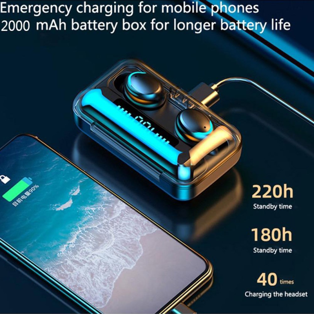 iTel Air F9 Pro plus TWS Wireless Headset with Magnetic Charging Case and 3,500mAh Power bank with Digital Power Display
