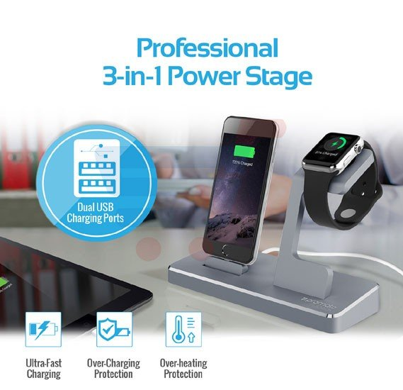 Promate nuDock 3 in 1 MFI Wireless Charging Station Dock 2 USB Ports for iPhone 6S/Apple Watch – Silver
