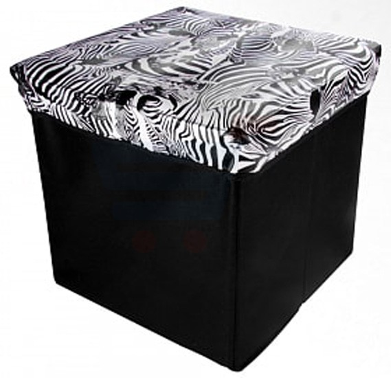 2 in 1 Foldable Storage Box and Stool, Assorted Color and Design - SF3601