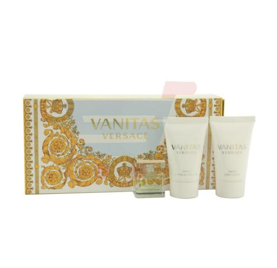 Versace Vanitas 3 Piece Mini Gift Set, Women Perfume 4.5ml, Body Lotion 25ml & Shower Gel 25ml