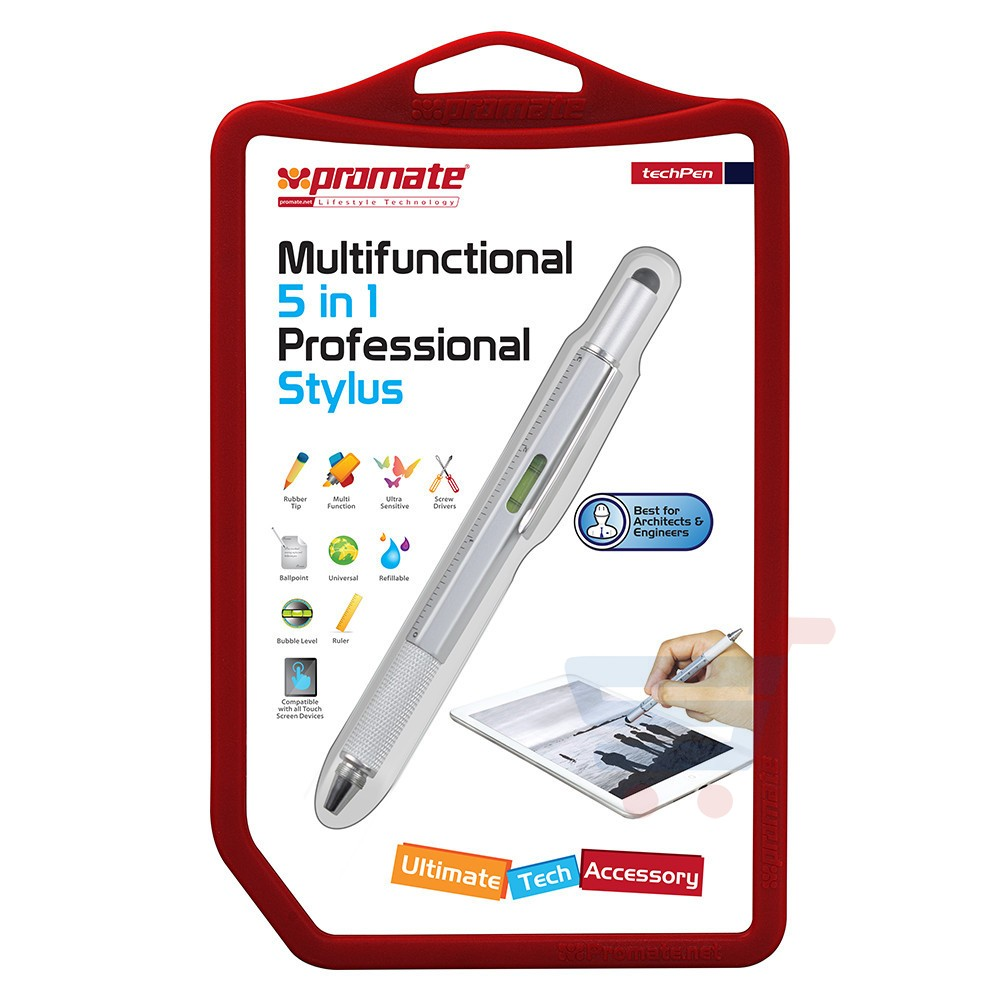 Promate techPen Multifunctional 5 in 1 Stylus with Ball point pen, ruler, spirit level and interchangeable screwdriver - techPen.Black